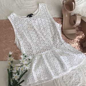 Forever 21 White Eyelet Peplum No Sleeve Top